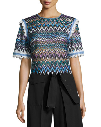 Ophell-C Chevron Lace Crop Top, Multicolor