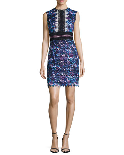 Trudi Sleeveless Chevron Lace Cocktail Dress, Blue Multicolor