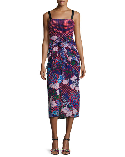 Dana Floral-Print Dotted Sleeveless Midi Dress, Chillipolka