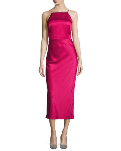Crisscross-Back Satin Midi Dress, Raspberry