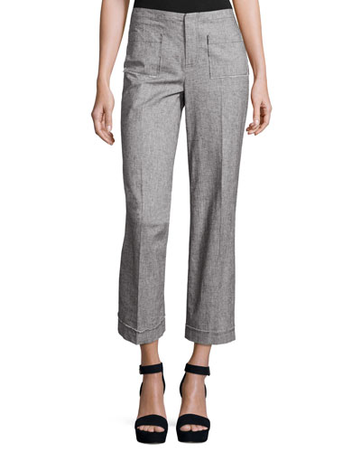 Cropped Tweed Wide-Leg Pants, Gray