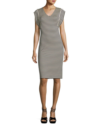 Striped V-Neck Sheath Dress, Multi