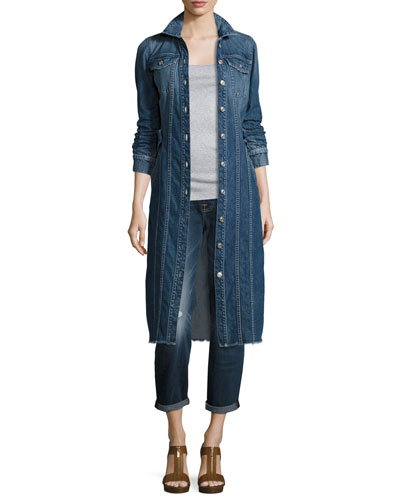 Long Denim Trucker Jacket w/Raw Hem, Waterloo