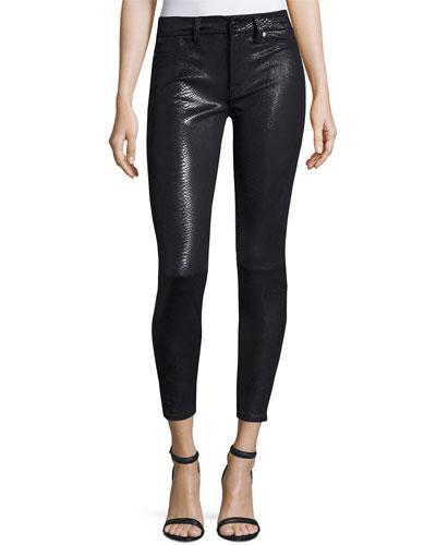 The Knee Seam Snake-Embossed Ankle Skinny Jeans, Black