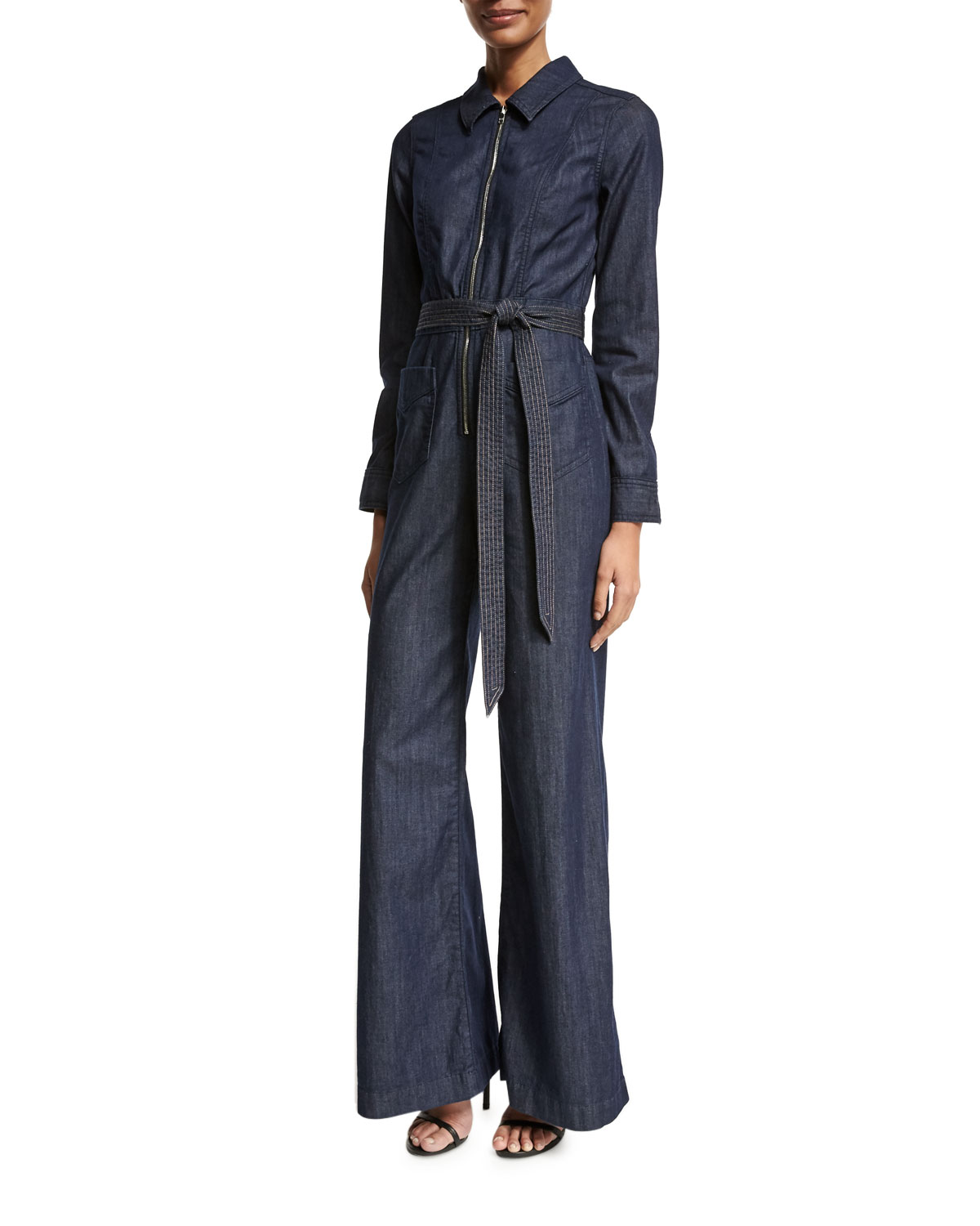Chambray Zip-Front Jumpsuit, Indigo