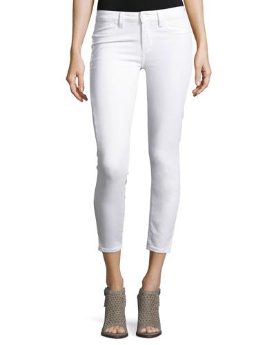 Verdugo Cropped Skinny Jeans w/Side Slits, White