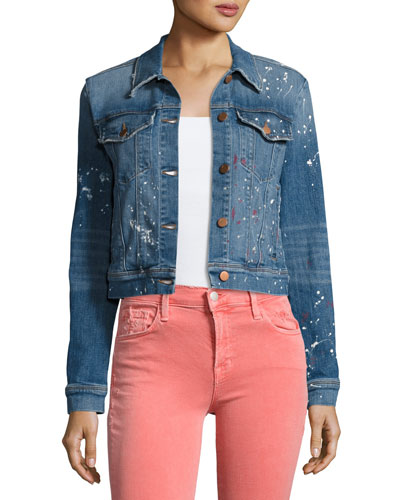Harlow Denim Trucker Jacket, Light Blue
