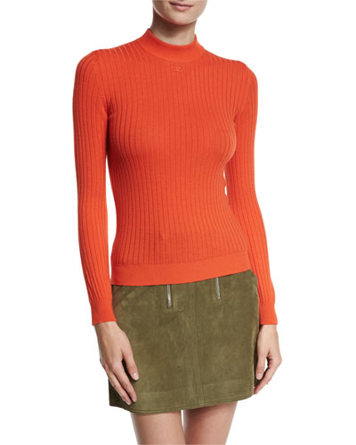 Ribbed Mock-Neck Sweater, AC Red