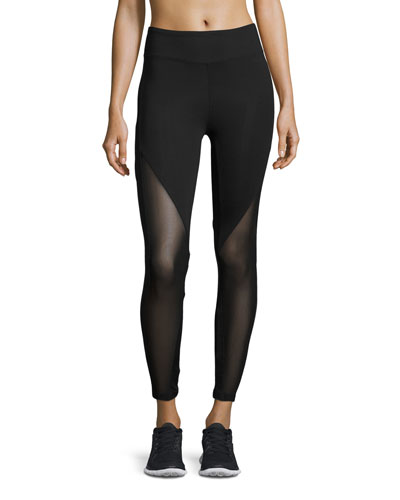 Lucent Mid-Rise Mesh-Panel Athletic Leggings, Black