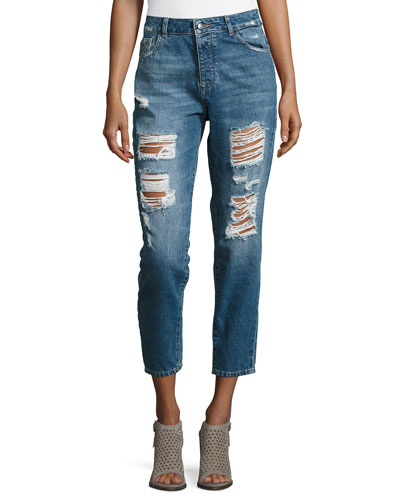 Goldie High-Rise Tapered Jeans, Shredded