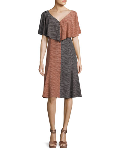 Bicolor Handkerchief-Top Silk Midi Dress, Orange/Black