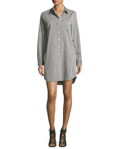 Brett Cotton Shirtdress, Gray