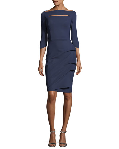 Slit-Neck 3/4 Sleeve Ruched Cocktail Dress