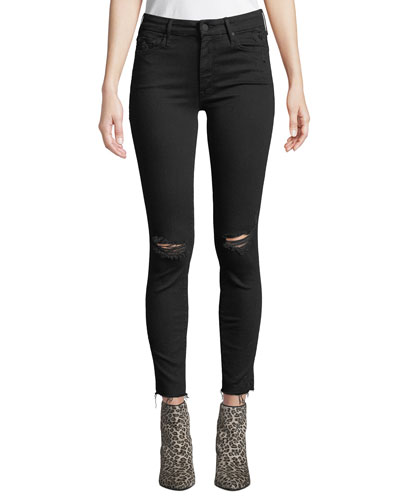 Looker Ankle Fray Distressed Jeans with Lightning Bolt