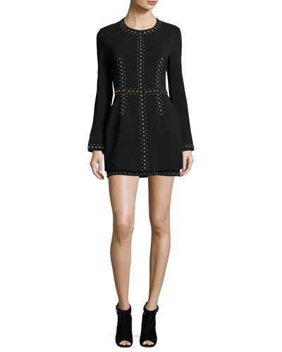 Madison Studded Stretch Crepe Dress, Black