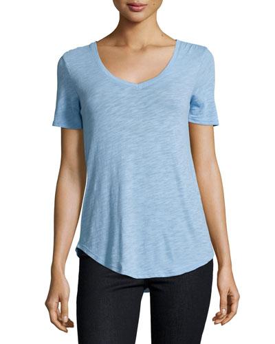 Short-Sleeve V-Neck Slub Jersey Tee