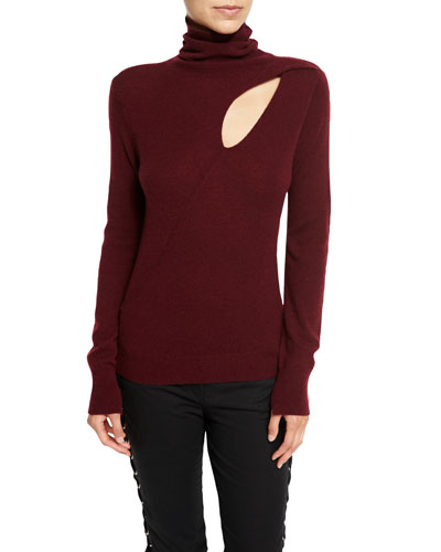 Billy Wool-Cashmere Turtleneck Sweater, Bordeaux