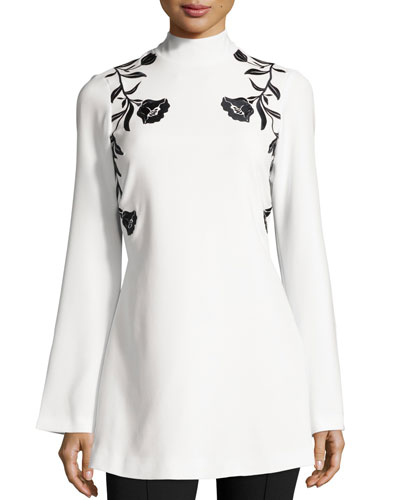 Rosabell Floral Open-Back Tunic, Ivory