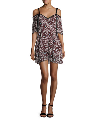 Corinna Cold-Shoulder Floral-Print Silk Mini Dress