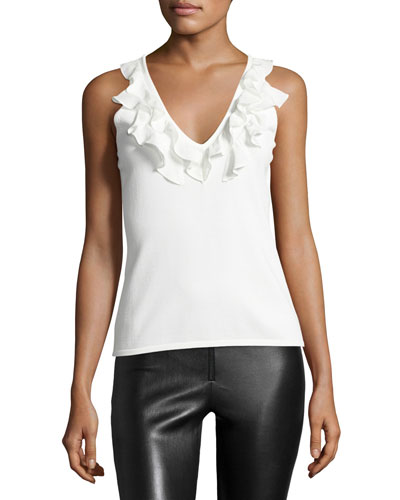 Cantaire Ruffle V-Neck Tank Top, Ivory