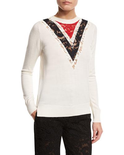 Crewneck Sweater w/Chevron Lace Inset, Multi