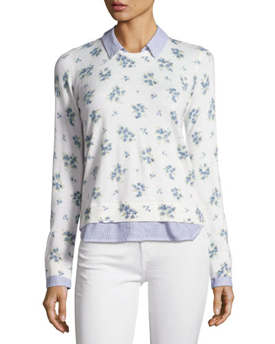 Rika J Layered Floral-Print Sweater, White
