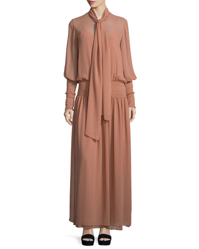 Chiffon Tie-Neck Maxi Dress, Dusty Pink