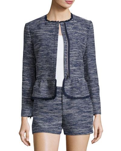 Milligan Tweed Zip-Front Jacket, Blue