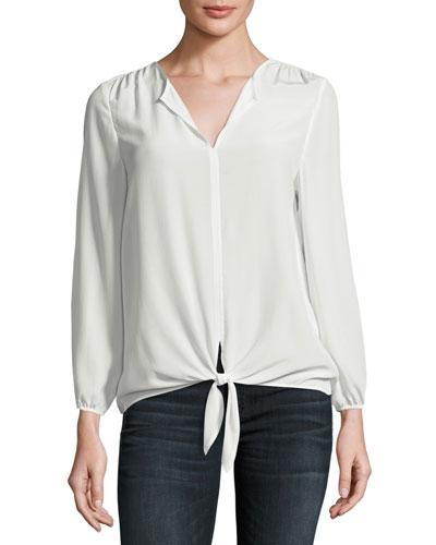 Avrom Tie-Front Silk Blouse, White