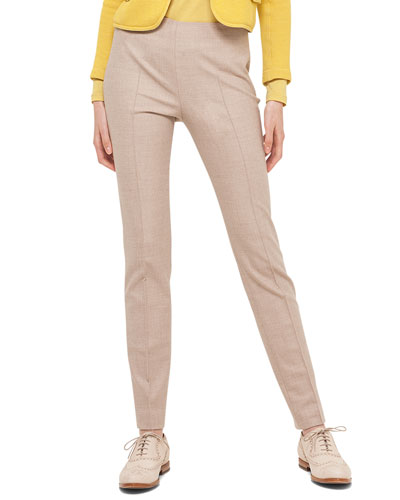 Melissa Stretch Flannel Pleated Slim Pants, Ivory