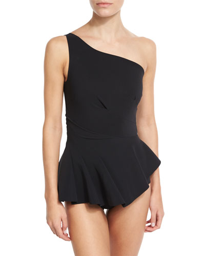Astrea One-Shoulder Swimdress, Black