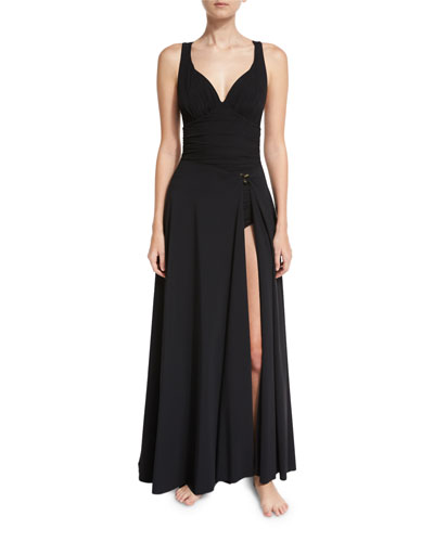 Rodeia Jersey Wrap Coverup Maxi Skirt, Black