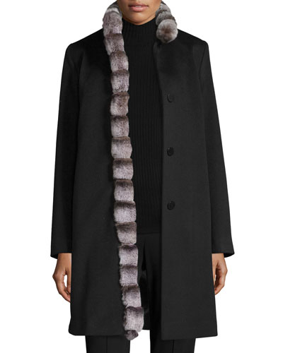 Wool Coat w/ Rabbit Fur Trim, Black