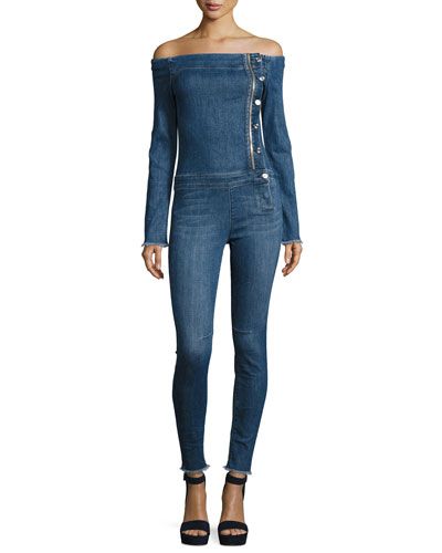 Lucienne Off-the-Shoulder Denim Jumpsuit, Raid