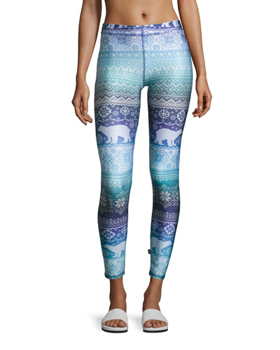 Blue Hues Fair Isle Performance Leggings, Blue