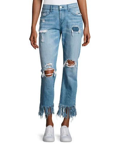 WM3 Cropped Straight-Leg Fringe Jeans, Mazzy