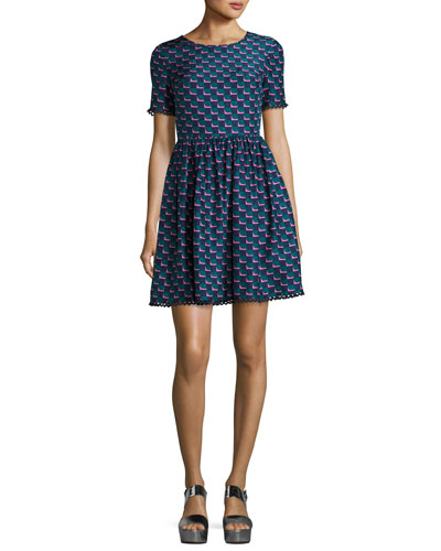Silk Jacquard Scalloped Check Dress, Blue