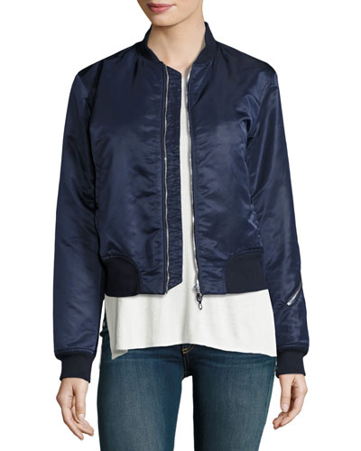 Morton Satin Bomber Jacket, Navy