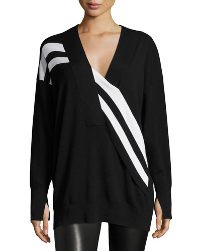 Grace Striped Merino V-Neck Sweater, Black/White