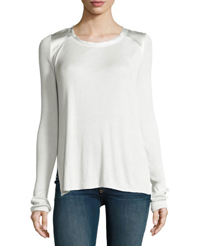 Gunner Ribbed Charmeuse-Trim Long-Sleeve Top, White