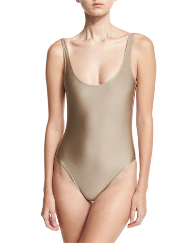 Classic Solid One-Piece Swimsuit, Nude