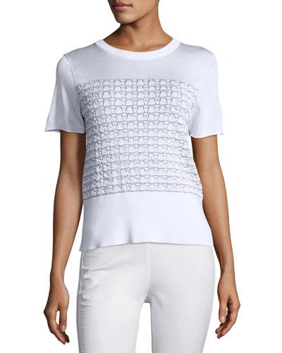Gwen Textured Knit Tee, White