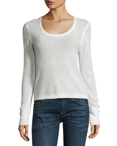 Estelle Herringbone Cashmere Scoop-Neck Sweater, Ivory