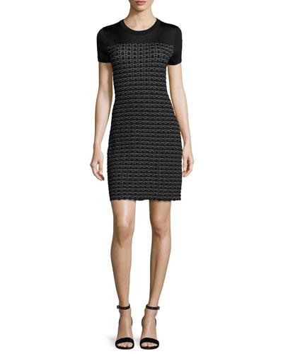 Gwen Short-Sleeve Sweater Dress, Black