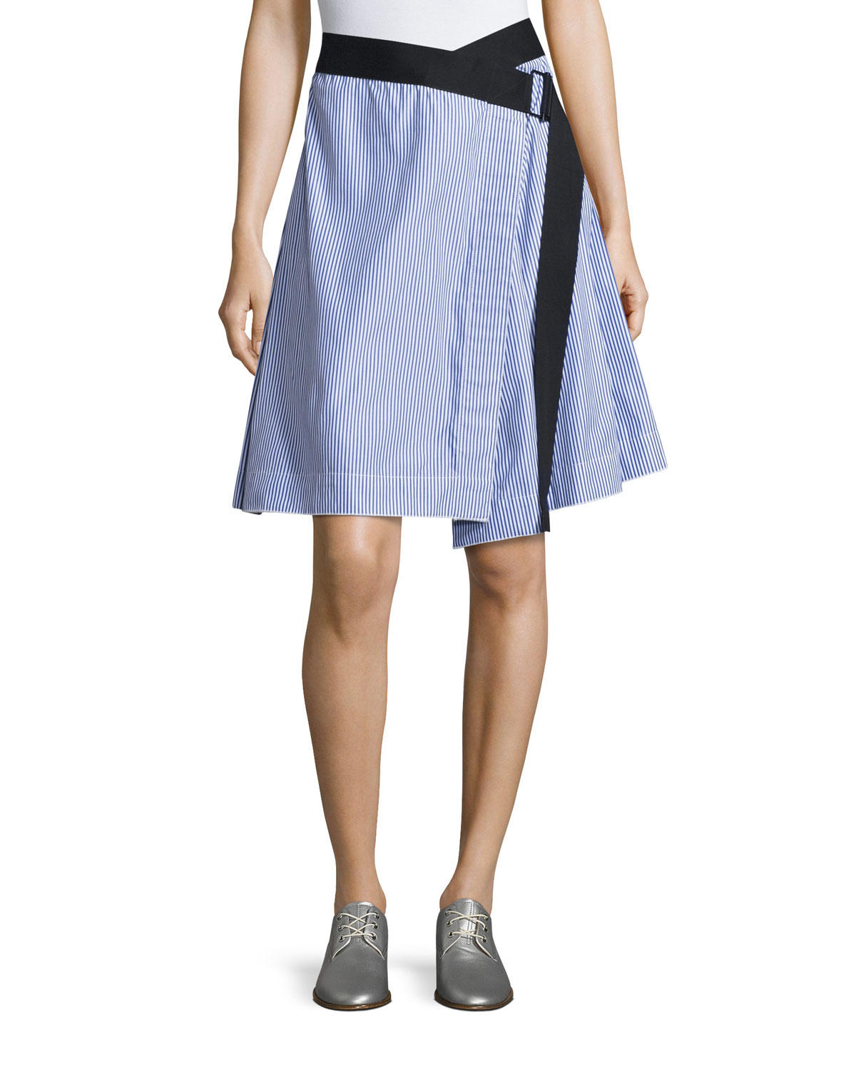 Lenna Striped Poplin Belted Wrap Skirt, Blue/White