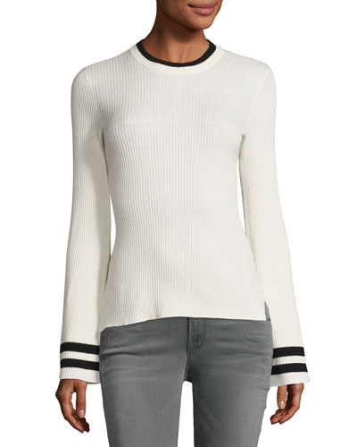 Bell-Sleeve Ribbed Crewneck Sweater, Off-White/Noir Stripe