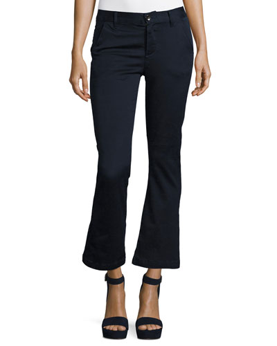 Le Crop Mini Boot-Cut Chino Pants, Blue
