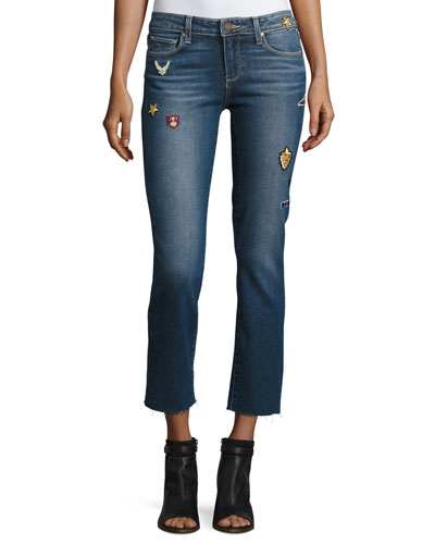Jacqueline Patch Straight-Leg Jeans with Raw Hem, Arvin