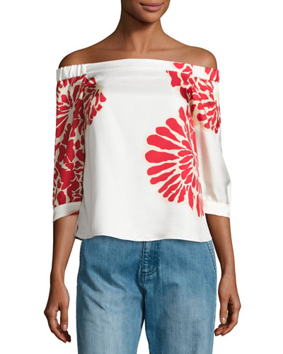 Orla Bloom Off-the-Shoulder Silk Top