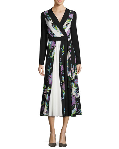 Penelope Floral & Colorblock Silk Wrap Dress, Black/White/Multicolor